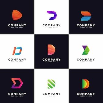 Colección de logotipos d, logotipos de letra d mayúscula de empresa degradado