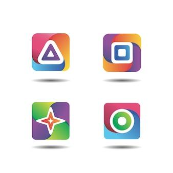 Colección de logotipos degradados de formas geométricas básicas