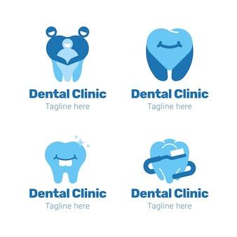 Colección de logotipos dentales de diseño plano