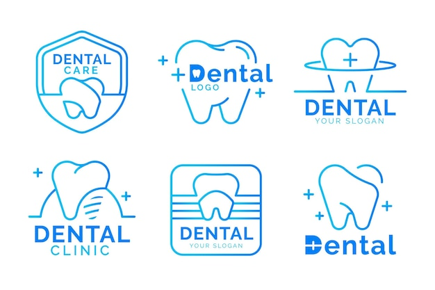 Colección de logotipos dentales planos lineales
