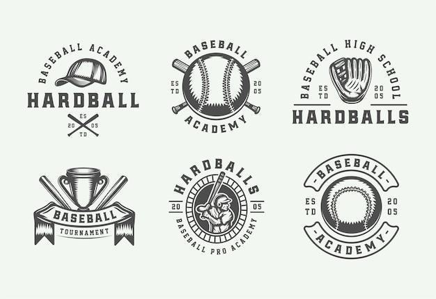 Colección de logotipos deportivos de béisbol vintage