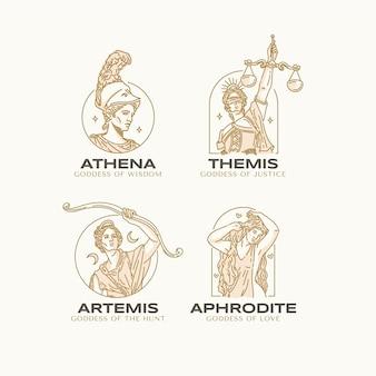 Colección de logotipos de diosa plana lineal