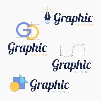 Colección de logotipos de diseñadores gráficos de diseño plano