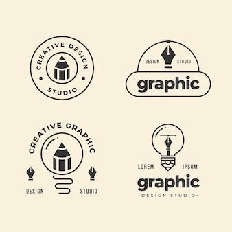 Colección de logotipos de diseño gráfico plano moderno