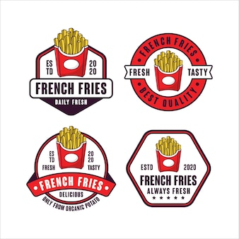 Colección de logotipos de diseño de insignia de papas fritas
