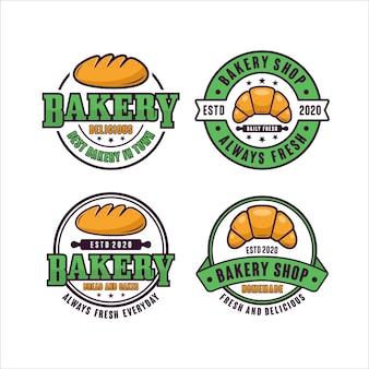 Colección de logotipos de diseño de insignias de panadería