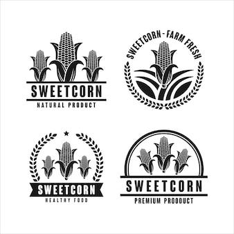 Colección de logotipos de diseño de productos naturales de maíz dulce