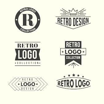 Colección de logotipos de diseño retro