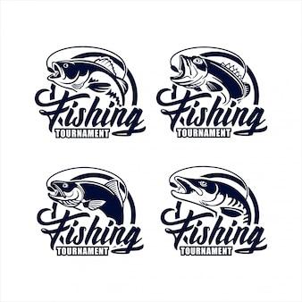 Colección de logotipos de diseño de torneo de pesca