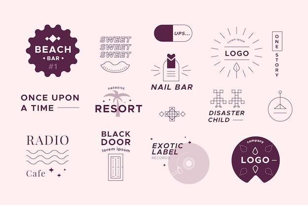 Colección de logotipos de dos colores en estilo minimalista