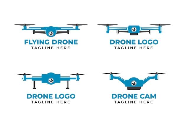 Colección de logotipos de drones de diseño plano azul monocromo