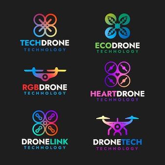 Colección de logotipos de drones de diseño plano colorido