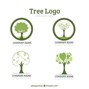 Colección de logotipos eco de arboles