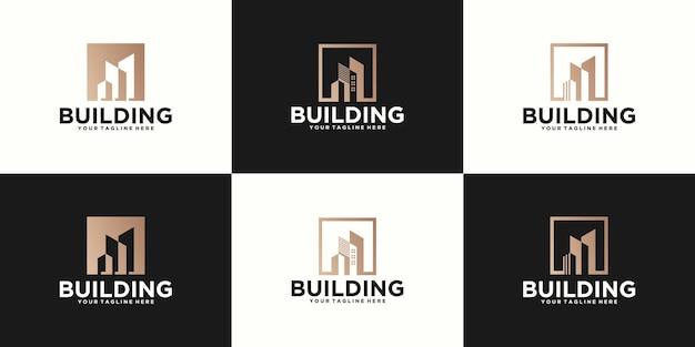 Colección de logotipos de edificios, edificios altos y arquitectura.