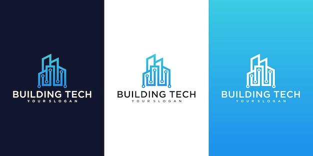 Colección de logotipos de edificios de tecnología moderna