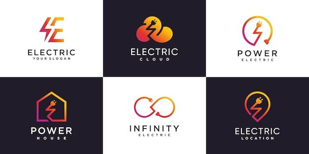Colección de logotipos eléctricos con concepto de elemento creativo vector premium parte 1