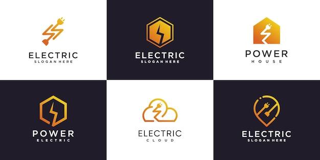 Colección de logotipos eléctricos con concepto de elemento creativo vector premium parte 2