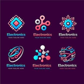 Colección de logotipos de electrónica degradada
