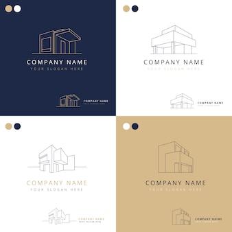 Colección de logotipos elegantes de construcciones arquitectónicas.