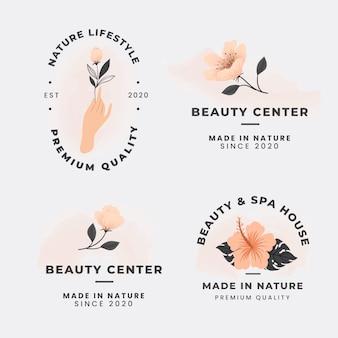 Colección de logotipos elegantes de cosmética natural