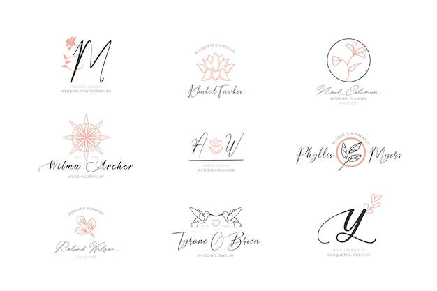 Colección de logotipos elegantes florales