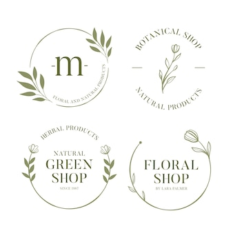 Colección de logotipos empresariales naturales en estilo minimalista