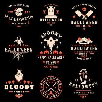 Colección de logotipos y etiquetas de halloween