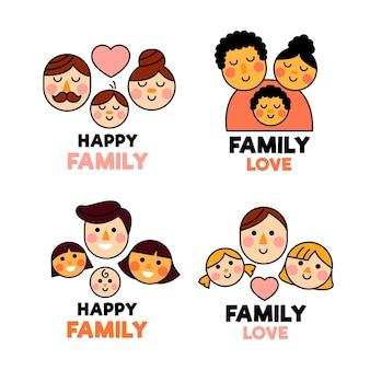 Colección de logotipos familiares ilustrada