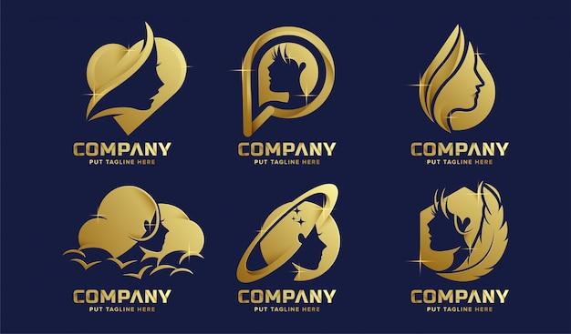 Colección de logotipos femeninos de lujo premium para empresa
