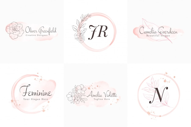 Colección de logotipos femeninos, plantillas de insignias modernas minimalistas y florales y acuarelas dibujadas a mano para branding, identidad, boutique, salón