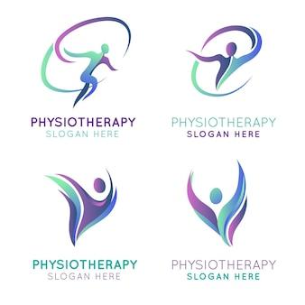 Colección de logotipos de fisioterapia degradados