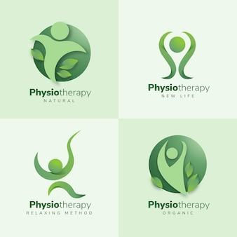 Colección de logotipos de fisioterapia de diseño plano