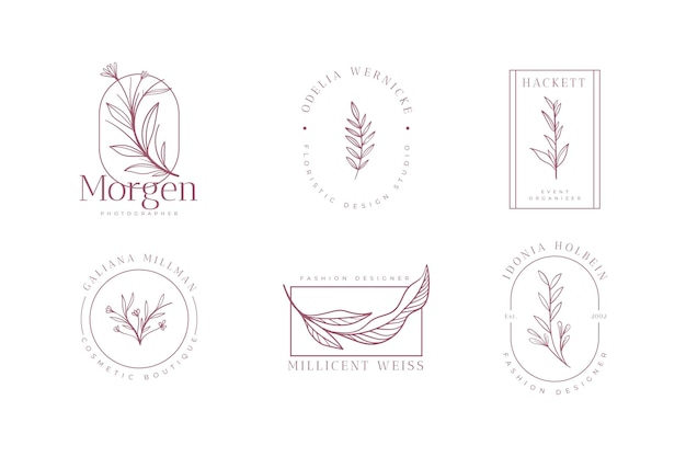 Colección de logotipos florales minimalistas