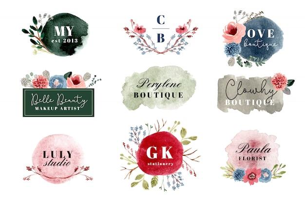 Colección de logotipos florales prefabricados de acuarela