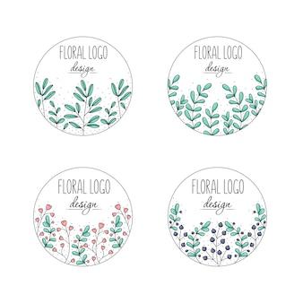 Colección de logotipos florales