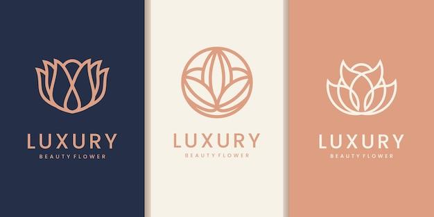Colección de logotipos de flores de belleza de arte de línea de lujo