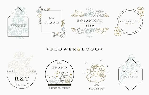 Colección de logotipos de flores con hojas, geométricas, círculo, marco cuadrado.