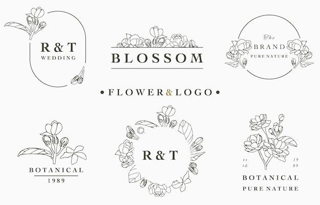 Colección de logotipos de flores con hojas, geométricas, marco circular.