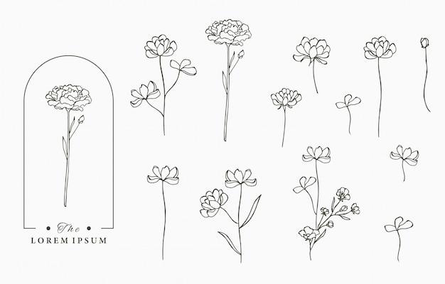 Colección de logotipos de flores negras con hojas, geométricas. ilustración para icono, logotipo, etiqueta, imprimible y tatuaje