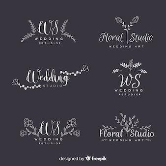 Colección de logotipos de floristería para bodas