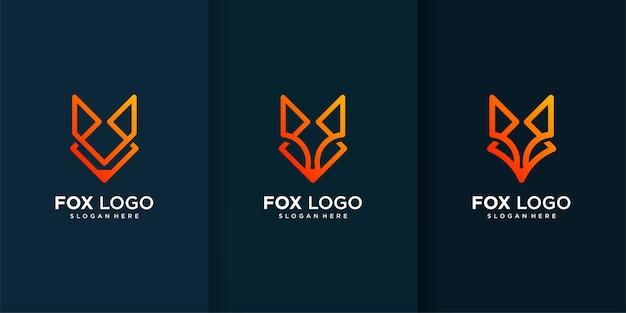 Colección de logotipos de fox con elementos diferentes y únicos