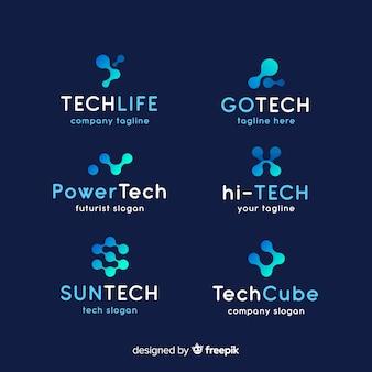 Colección de logotipos gradientes de tecnología