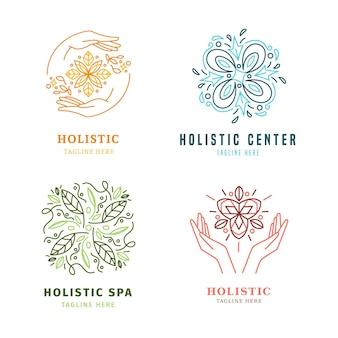 Colección de logotipos holísticos dibujados a mano plana