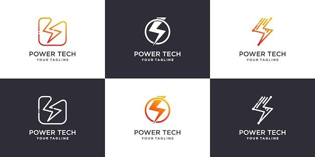 Colección de logotipos de iconos de energía eléctrica vector premium