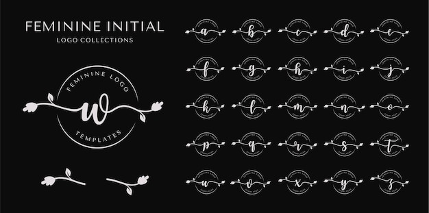 Colección de logotipos iniciales femeninos.