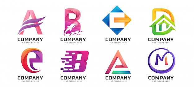 Colección de logotipos iniciales de letras coloridas
