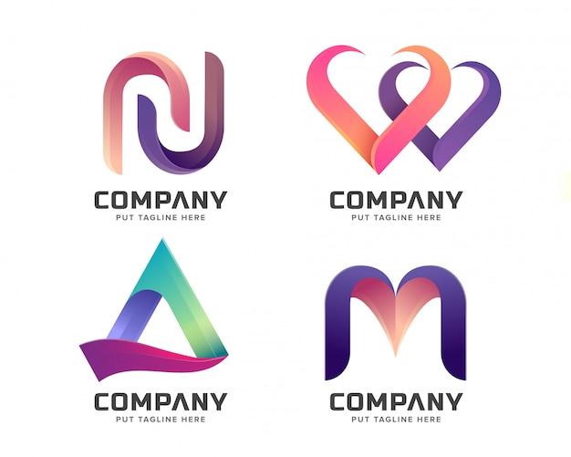 Colección de logotipos iniciales de letras creativas