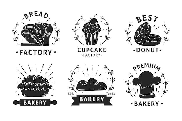 Colección de logotipos de insignias de panadería dibujados a mano
