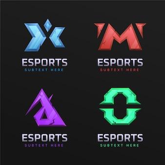 Colección de logotipos de juegos de deportes electrónicos degradados