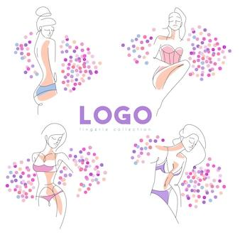 Colección de logotipos de lencería con silueta de mujer y purpurina.
